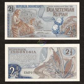 Indonesia 2 1/2 Rupiah, 1961, P-79, UNC
