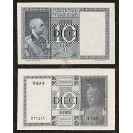 Italy 10 Lire, 1939, P-25c, UNC