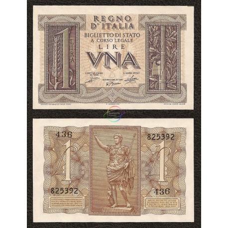 Italy 1 Lire, 1939, P-26, UNC