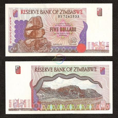 Zimbabwe 5 Dollars, 1997, P-5, UNC