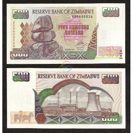 Zimbabwe 500 Dollars, 2004, P-11, UNC