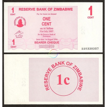 Zimbabwe 1 Cent, Bearer Cheque, 2006, P-33, UNC