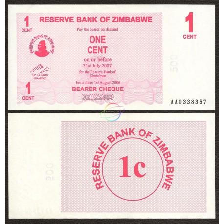 Zimbabwe 1 Cent, Bearer Cheque, 2006, P-33, UNC