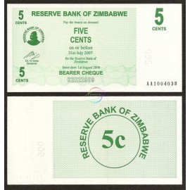 Zimbabwe 5 Cents, Bearer Cheque, 2006, P-34, UNC