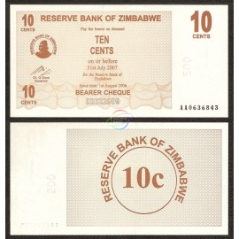 Zimbabwe 10 Cents, Bearer Cheque, 2006, P-35, UNC