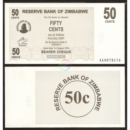 Zimbabwe 50 Cents, Bearer Cheque, 2006, P-36, UNC