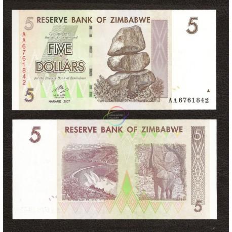 Zimbabwe 5 Dollars, 2007, P-66, UNC