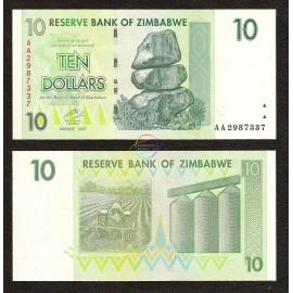 Zimbabwe 10 Dollars, 2007, P-67, UNC