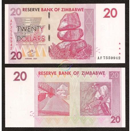 Zimbabwe 20 Dollars, 2007, P-68, UNC