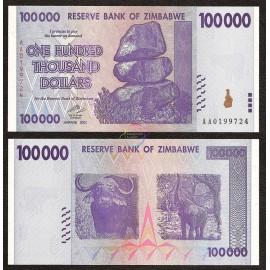 Zimbabwe 100,000 Dollars, 2008, P-75, UNC