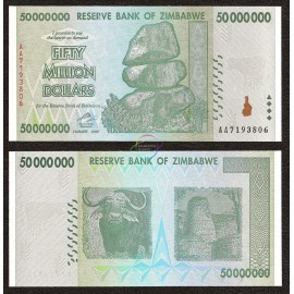 Zimbabwe 50 Million Dollars, 2008, P-79, UNC
