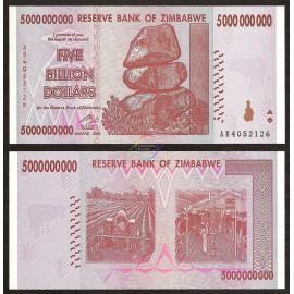 Zimbabwe 5 Billion Dollars, 2008, P-84, UNC