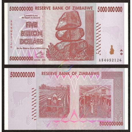 Zimbabwe 5 Billion Dollars, 2008, P-84, UNC
