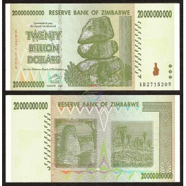 Zimbabwe 20 Billion Dollars, 2008, P-86, UNC