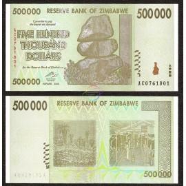 Zimbabwe 500,000 Dollars, 2008, P-76, UNC
