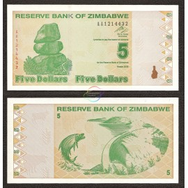 Zimbabwe 5 Dollars, Post Trillion, 2009, P-93, UNC
