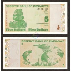 Zimbabwe 5 Dollars, Post Trillion, 2009, P-93, UNC