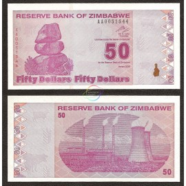 Zimbabwe 50 Dollars, Post Trillion, 2009, P-96, UNC