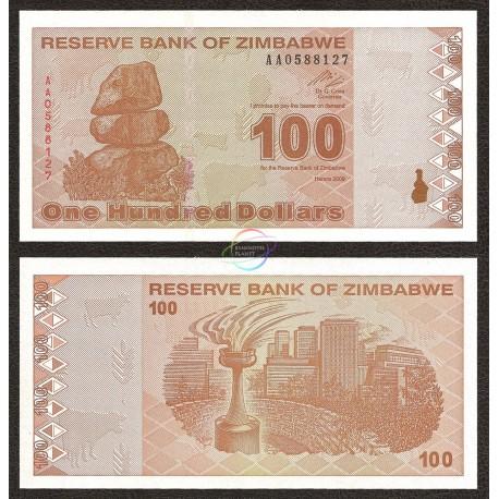 Zimbabwe 100 Dollars, Post Trillion, 2009, P-97, UNC