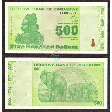 Zimbabwe 500 Dollars, Post Trillion, 2009, P-98, UNC