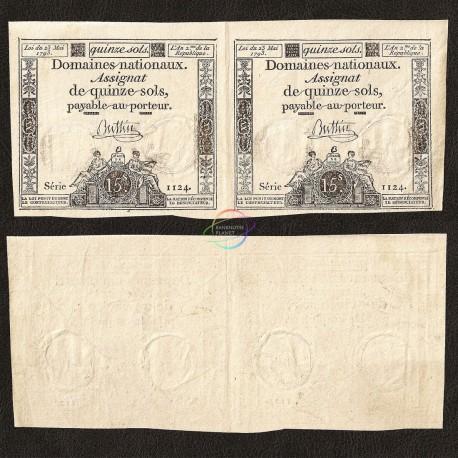 France 15 Sols, 1793, P-A69, XF