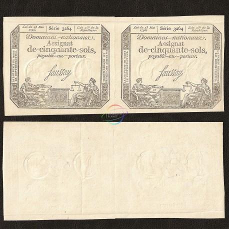 France 50 Sols, 1793, P-A70, XF