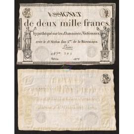 France 2,000 Francs, P-A81, 1795, XF