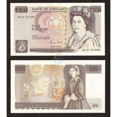 Great Britain 10 Pounds, QE II, 1988-91, P-379e, UNC