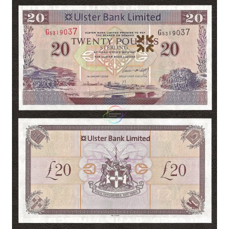 Northern Ireland 20 Pounds, 2008, P-337, UNC