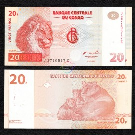 Congo D.R. 20 Francs, Replacement, 1997, P-88, HDM, UNC