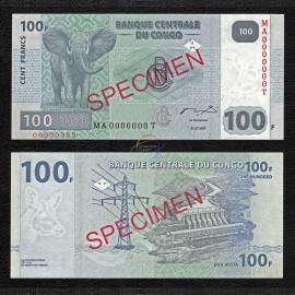 Congo D.R. 100 Francs, Specimen, 2007, P-98s, UNC