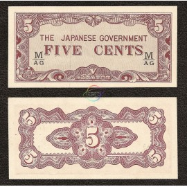 Malaya 5 Cents, 1942, P-M2b, AUNC