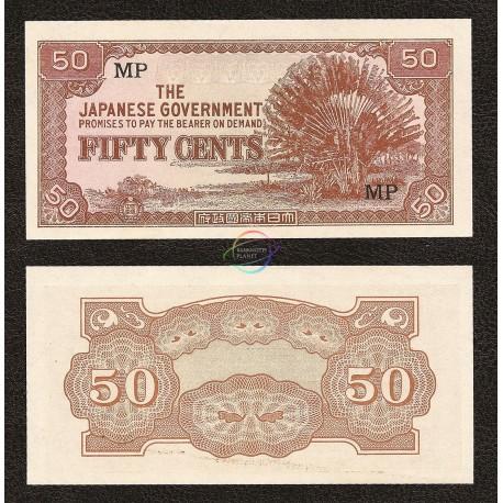 Malaya 50 Cents, 1942, P-M4b, UNC