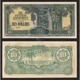 Malaya 10 Dollars, 1942-44, P-M7, UNC
