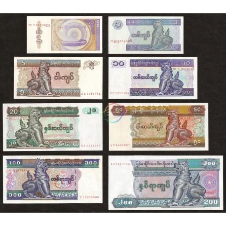 Myanmar 50 Pyas, 1, 5, 10, 20, 50, 100, 200 Kyats Set, 1994-98, P-68 to 75, UNC