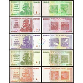 Zimbabwe 1, 5, 10, 20, 50 Billion Dollars Set, 2008, P-83, 84, 85, 86, 87, XF-AU