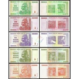 Zimbabwe 1, 5, 10, 20, 50 Billion Dollars Set, 2008, P-83, 84, 85, 86, 87, XF-AU
