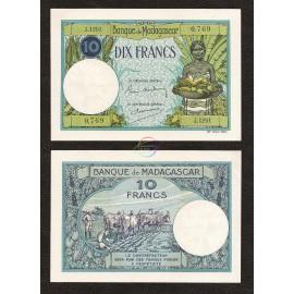 Madagascar 10 Francs, 1937-47, P-36, AU