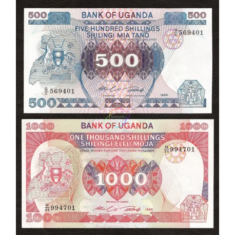 Uganda 500, 1000 Shillings Set 2 PCS, 1986, P-25-26, UNC
