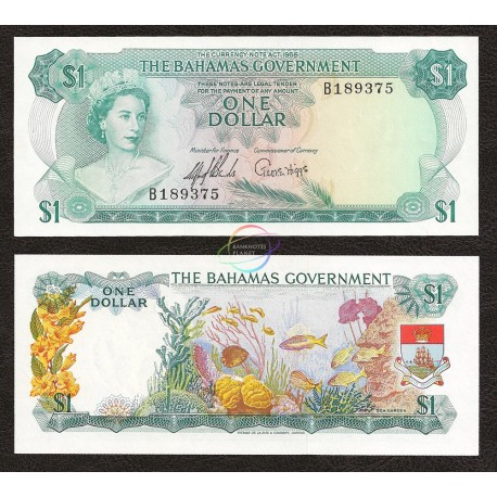 Bahamas 1 Dollar, QE II, 1965, P-18a, AUNC