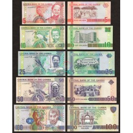 Gambia 5, 10, 25, 50, 100 Dalasis Set 5 PCS, 2006 (2013), P-25, 26, 27, 28, 29, UNC