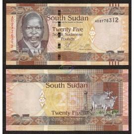 South Sudan 25 Pounds, 2011, P-8, UNC