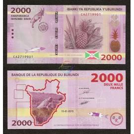 Burundi 2000 Francs, 2015, P-52, UNC