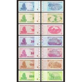 Zimbabwe 1, 5, 10, 20, 50, 100, 500 Dollars Set, 2009, P-92, 93, 94, 95, 96, 97, 98, UNC