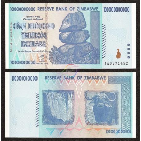 Zimbabwe 100 Trillion Dollars, 2008, P-91, UNC