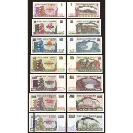 Zimbabwe 5, 10, 20, 50, 100, 500, 1000 Dollars Set, 1997, P-5, 6, 7, 8, 9, 11, 12, UNC