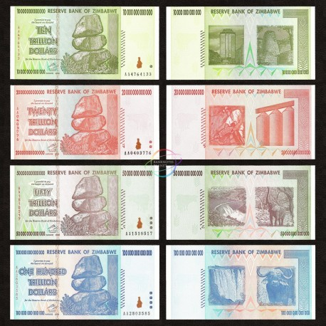 Zimbabwe 10, 20, 50, 100 Trillion Dollars Set, 2008, P-88, 89, 90, 91, UNC