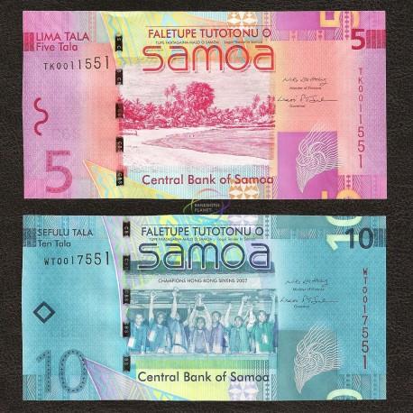 Samoa 5, 10 Tala Set 2 PCS, 2008, P-38, 39, UNC
