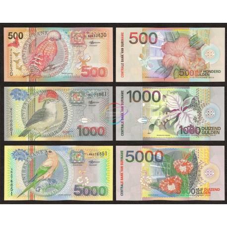 Suriname 500, 1000, 5000 Gulden Set 3 PCS, 2000, P-150, 151, 152, UNC