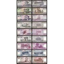 Korea 5, 10, 50, 100, 200, 500, 1000, 2000, 5000 Won Set 9 PCS, Commemorative, 2014, P-New, UNC
